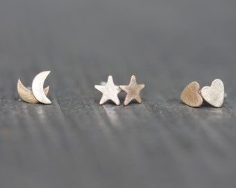 Silver & Brass Petite Earring Set of 3 - Heart, Moon, and Stars