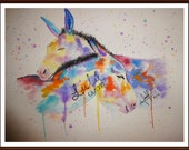 mule and donkey painting, original, water color, equine, animal, nature, colorful, gift