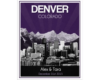 Denver Skyline Wedding Gift - Personalized - Anniversary - Custom Date - Location City and State Modern Art Print  Colorado Rocky Mountains