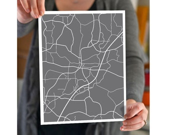 Alpharetta Georgia City Map - Modern Print Gift - Atlanta, Milton, Cumming, Roswell, Johns Creek, Woodstock