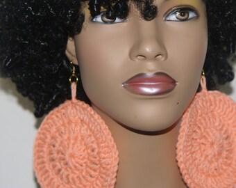 Large Crochet Earrings- Light Coral