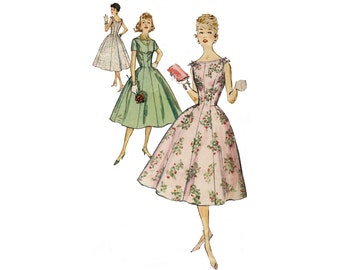 Vintage 1950s Simplicity 2494 rockabilly a line party dress, fit and flare midi sleeveless cocktail dress, sewing pattern, bust 34 waist 26