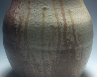 upside down wood fired stoneware vase