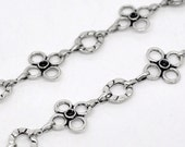 Silver Flower Chain Circle Link Antique Tone - 3ft - 10-17mm - Ships Immediately from California - CH20