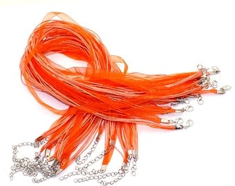 10 Organza Necklaces with Waxed Cord & Clasp - Orange - 17 inch - Ships IMMEDIATELY  from California - CH292