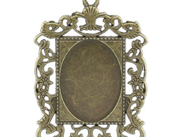 10 Bronze Frames - Holds 25x18mm - Pendants - 46x35mm - Ships IMMEDIATELY from California - BC707