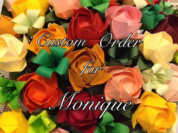 Long Stemmed Yellow/Orange Roses Without Thorns - Origami Flower Arrangement