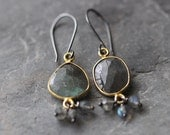 Labradorite Earrings with Gold Vermeil Bezel and Sterling Silver Wires