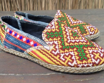 Vegan Womens  Loafers Espadrilles Hmong Embroidered Summer Shoes - Morgan
