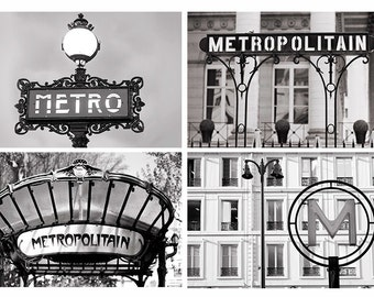Paris Photography Set - Black and White Metro Signs, Architectural Details Collection, Urban Wall Decor, French Travel Photographs