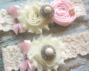 Pink Wedding Garter, Wedding Garter Set, Bridal Garter, Lace Garter, Custom Garter, Toss Garter Included