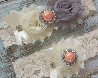 Grey Wedding Garter, Wedding Garter Set, Bridal Garter, Lace Garter, Custom Garter, Toss Garter Included