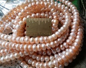 "Freshwater Genuine Pearls, Button Style, 7mm, Yummy Peachy Pink , Listing is For One 8""Strand, Spectacular, Iridescent"