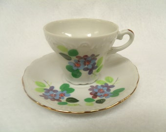 Demitasse Teacup and Saucer, Unknown Maker, Forget-me-nots