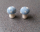 Toadstools mushrooms set of two needle felted gift under 25 home decor pastel