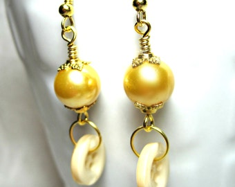 CLEARANCE Gold Button and Pearl Earrings