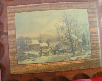 60s Currier & Lives Carved Wood Plaque WINTER MORNING Classic Print