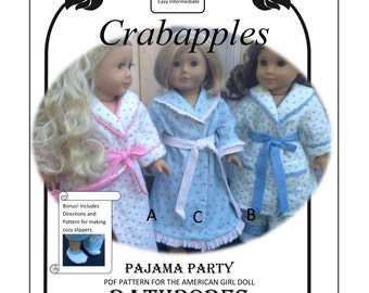 """PDF Pattern for 18"""" and American Girl dolls Bathrobe and Slippers- Instant Download"""