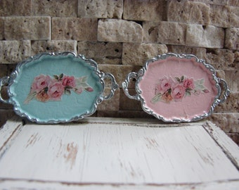 Dollhouse Miniature Shabby Chic Pink or Seafoam Metal Tray with Handles