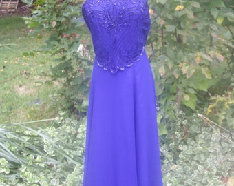vintage cobalt electric blue heavily beaded gown halter neck sz 8