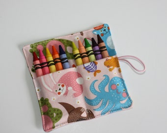 Crayon Roll, Animals on Pink, Crayon Rollup, holds up to 10 Crayons, Birthday Party Favors