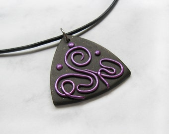 Swirls pendant, Polymer clay pendant, Swirls necklace, OOAK pendant, Gift for Her, Abstract jewelry, Abstract pendant, Magenta jewelry