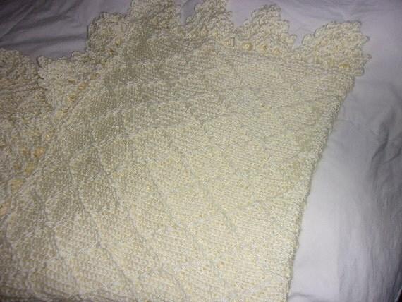 Crochet Baby Blanket Diamond Pattern : Hand knit baby blanket in diamond pattern with crocheted