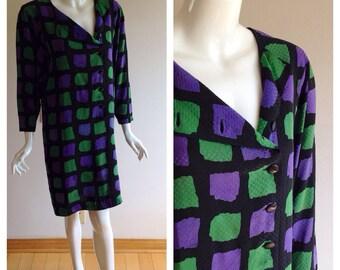 Adele Simpson 1980s Button Down Shirtdress