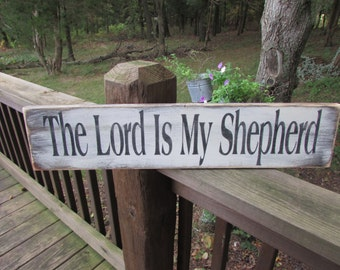 rustic sign, primitive sign, home decor, primitive home decor, wood sign, hand painted, scripture sign, lord is my shepherd, religious