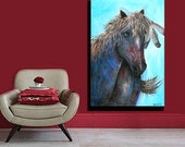 Large Original Abstract Horse  Painting 24 x 36 by HesterPaintings by Don Hester