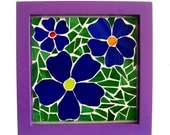 Stained glass mosaic art, blue flower boho decor, gypsy decor