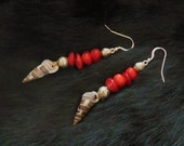 Red Coral and Shell Earrings on Sterling Silver French Style Ear Wires