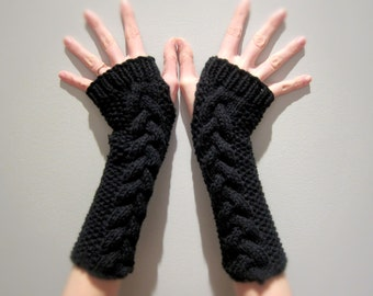 Long Fingerless Gloves Knitted Crochet Cable Knit Arm Warmers Womens Black Autumn Winter Texting Gloves