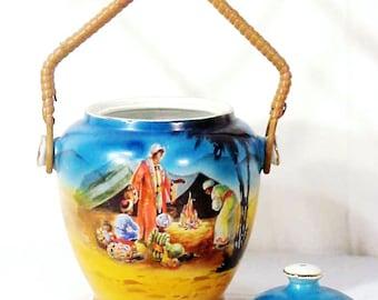 RARE Antique Egyptian Revival Porcelain Biscuit Barrel, N.H.P. Made in England