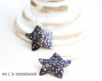 Tiny Stars Dot Textured Black Drop Earrings Copper Hand Cut Oxidized Love Dangle Boho Ethnic Hippie by evismetalwork