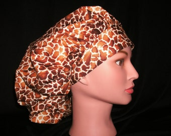 giraffe print bouffant scrub hat