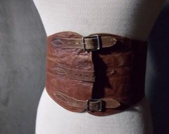 SALE - REDUCED Tooled Leather Cowboy Kidney Belt