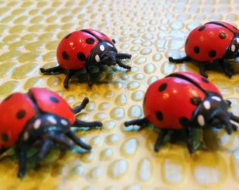 4 Very Tiny Miniature Ladybugs / Small Animals / Terrarium Supply / Diorama / Insects