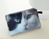 Cat pouch, cat purse, cat clutch, cat lover pouch, cat portrait pouch, cat makeup bag, PC-308