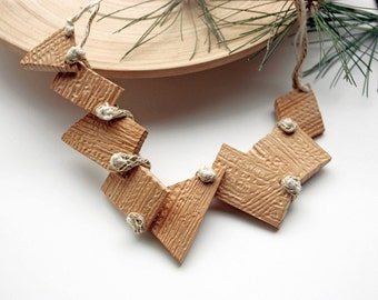 Geometric wood necklace, chunky statement jewelry, knitted with carved beads, eco friendly, natural, OOAK