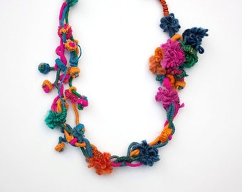 Colorful hand wrapped necklace, fiber jewelry with bamboo beads, OOAK