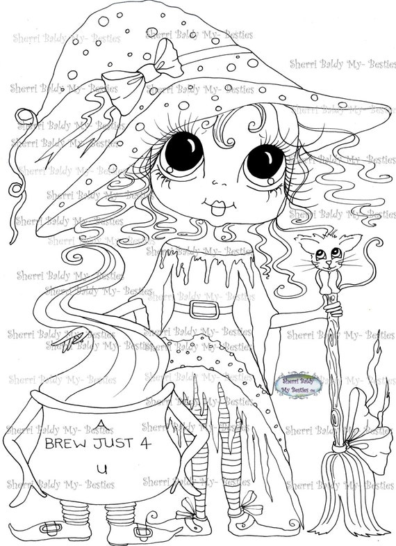 INSTANT DOWNLOAD Digital Digi Stamps Big Eye Big Head Dolls Digi  My - Besties  IMG043 With Kitty By Sherri Baldy