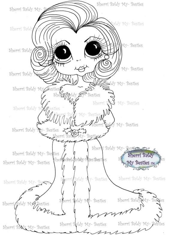 INSTANT DOWNLOAD Digital Digi Stamps Big Eye Big Head Dolls Digi  My - Besties  IMG164 By Sherri Baldy