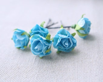 Small Roses Bobby Pins, Bohemian Wedding Hair Flowers, Bridal Hair Accessories, Light Blue Hair Flowers, Bridesmaids Accessories