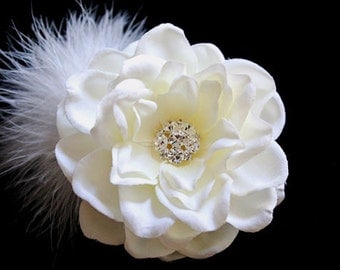 Ivory Wedding Flower Bridal Hair Clip Ivory Hair Flower Wedding Hair Accessory Bridal Flower Headpiece Feather Hairpiece Gardenia Fascinator