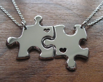 Two Best Friend Puzzle Pendant Necklaces