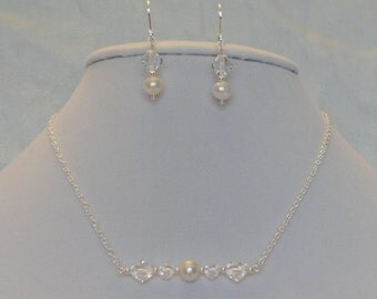 925 Freshwater Pearl and Swarovski Crystal Necklace and Earring Bridesmaid Set
