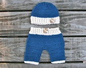 crochet baby boy hat and pants set  FREE Domestic Shipping