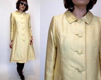Vintage 60s Shiny mod Fancy Dupioni silk Long Jacket S/M