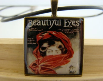 Resin Pendant, Vintage Album Cover, Beautiful Eyes, Red, Black, White, For Her, Necklace, Square, 1 inch